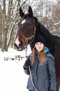 Winter stroll with horse Royalty Free Stock Photo