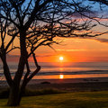 Winter sunrise on the beach in new zealand Royalty Free Stock Photography