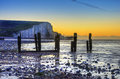 Winter sunrise at low tide at Seven Sisters cliffs Royalty Free Stock Photography