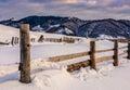 Winter sunrise in mountainous rural area Royalty Free Stock Photo