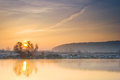 Winter sunrise over the river with sun Stock Photography