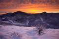 Winter sunrise in rhodope mountains Stock Photography