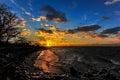 Winter sunset on a Chesapeake Bay beach Royalty Free Stock Photo