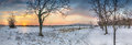 Winter Sunset Panorama Royalty Free Stock Photo