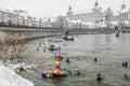 Winter swimming Royalty Free Stock Photo