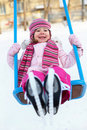 Winter swings for children Stock Photography