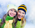 Winter Teenage Girls outdoors Royalty Free Stock Photo