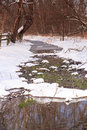 Winter thaw vertical virginia landscape snowy of small creek bed with some in northern Stock Images