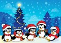 Winter theme with penguins eps vector illustration Stock Photos
