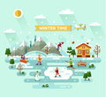 Winter time flat design vector nature landscape illustration with house skiing and ice skating fishing snowman bench mountains Stock Image