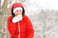 Winter time a picture of a young woman drinking hot drink in a forest Royalty Free Stock Image