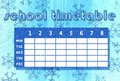Winter timetable school template with blue abstract background in snowing theme Royalty Free Stock Images