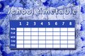 Winter timetable school template with blue abstract background in theme Royalty Free Stock Photo