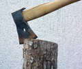 Winter tool one simple axe in timber log Royalty Free Stock Photo