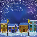 Winter town vector illustration of christmas night in Royalty Free Stock Image