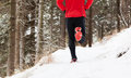 Winter trail running Stock Images