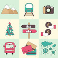 Winter travel flat design icons. Royalty Free Stock Photo