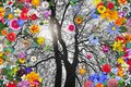 Winter Tree and Colorful Spring Flowers Royalty Free Stock Photo