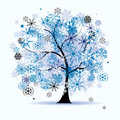 Winter tree, snowflakes. Christmas holiday. Royalty Free Stock Image