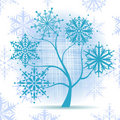 Winter tree, snowflakes. Christmas holiday. Stock Images