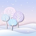 Winter trees stylized landscape with Stock Image