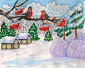 Winter two birds on branch hand painted illustration landscape with gouache can be used as christmas new year holiday picture Stock Image