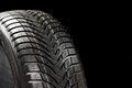 Winter tyre on black Stock Images