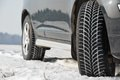 Winter tyres wheels installed on suv car outdoors Stock Photos