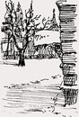 Winter urban sketch vector image of a fragment of a Royalty Free Stock Photo