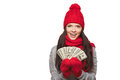 Winter us dollar woman excited surprised showing fan of money in hand over white background with copy space Stock Photography