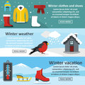 Winter vacation banner set, flat style