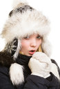 Winter vacation freezing girl warming her hands in warm clothes young woman in fur hat cold by breath isolated on white Stock Photography