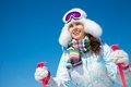 Winter vacation on the ski portrait of young smilling woman holiday in mountains Stock Photos