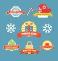 Winter vector discount labels set illustration Stock Images