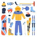 Winter vector sport and clothes icons snow ski, snowboard helmet and board, sledge mountain cold extreme sportsmen