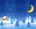 Winter verschönert Nacht landschaftlich Lizenzfreie Stockfotografie