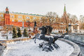 Winter view of the Alexander Garden in Moscow, Russia Royalty Free Stock Photo