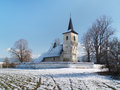 Winter view of All Saints church in Ludrova