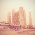 Winter view of the business center under the snowfall and fog moscow russia Royalty Free Stock Photos