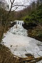 A Winter View of the Frozen Cascade Falls Royalty Free Stock Photo