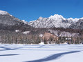 Winter view frozen surface strbske pleso tarn hotel peaks high tatra mountains background strbske pleso second largest glacial Royalty Free Stock Photo