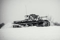 Winter view of the german WWII tank panzer Pz. II in attack. Royalty Free Stock Photo
