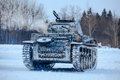 Winter view of the german WWII tank panzer Pz. II. Royalty Free Stock Photo