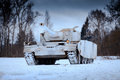 Winter view of the german WWII tank panzer Pz. IV. Royalty Free Stock Photo