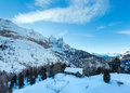 Winter view on marmolada mountain italy from lago fedaia trentino province of belluno Royalty Free Stock Photography