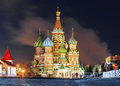 Winter view St. Basil`s Cathedral in Moscow Royalty Free Stock Photo