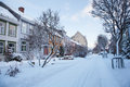 Winter view of street in Trondheim city Norway Royalty Free Stock Photo