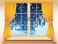 Winter view through a window Stock Image