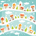 Winter  village background Stock Photo