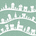 Winter village christmas background Stock Images